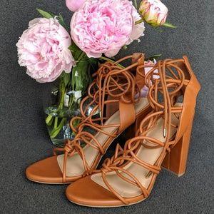 NWOB Brown Lace Up 4.5in Heels